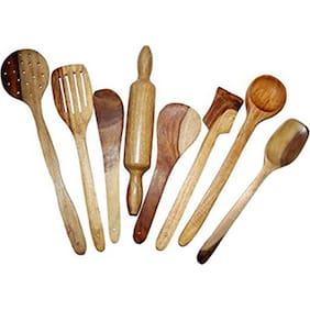 Wooden Spoon Set of 8 pcs/ Wooden Spatula, Ladle & Kitchen Tools Set