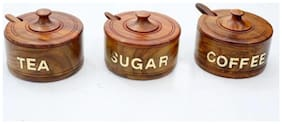 Wooden Tea,Sugar & Coffee container set of 3