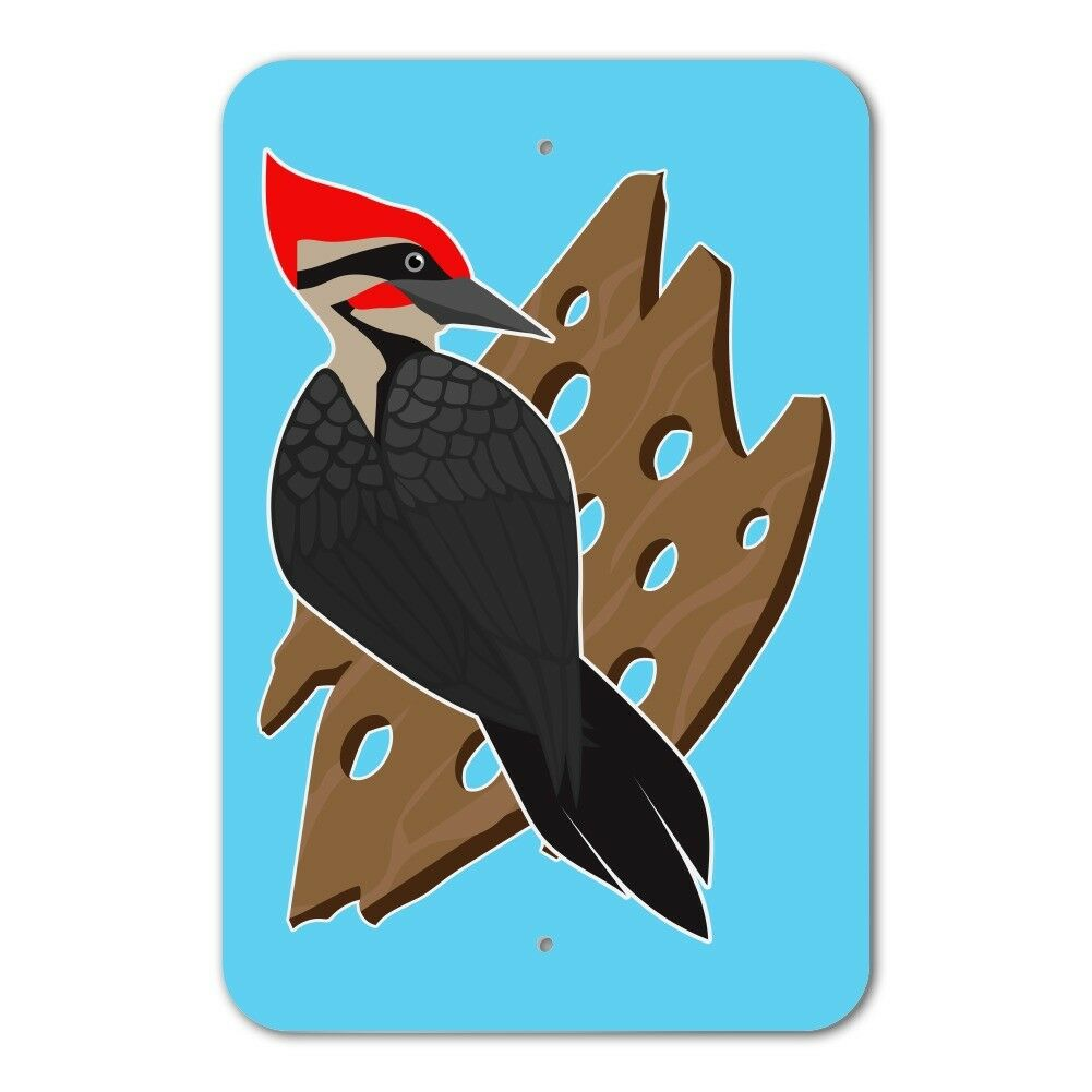 Woodpecker on Wood with Holes Home Business Office Sign