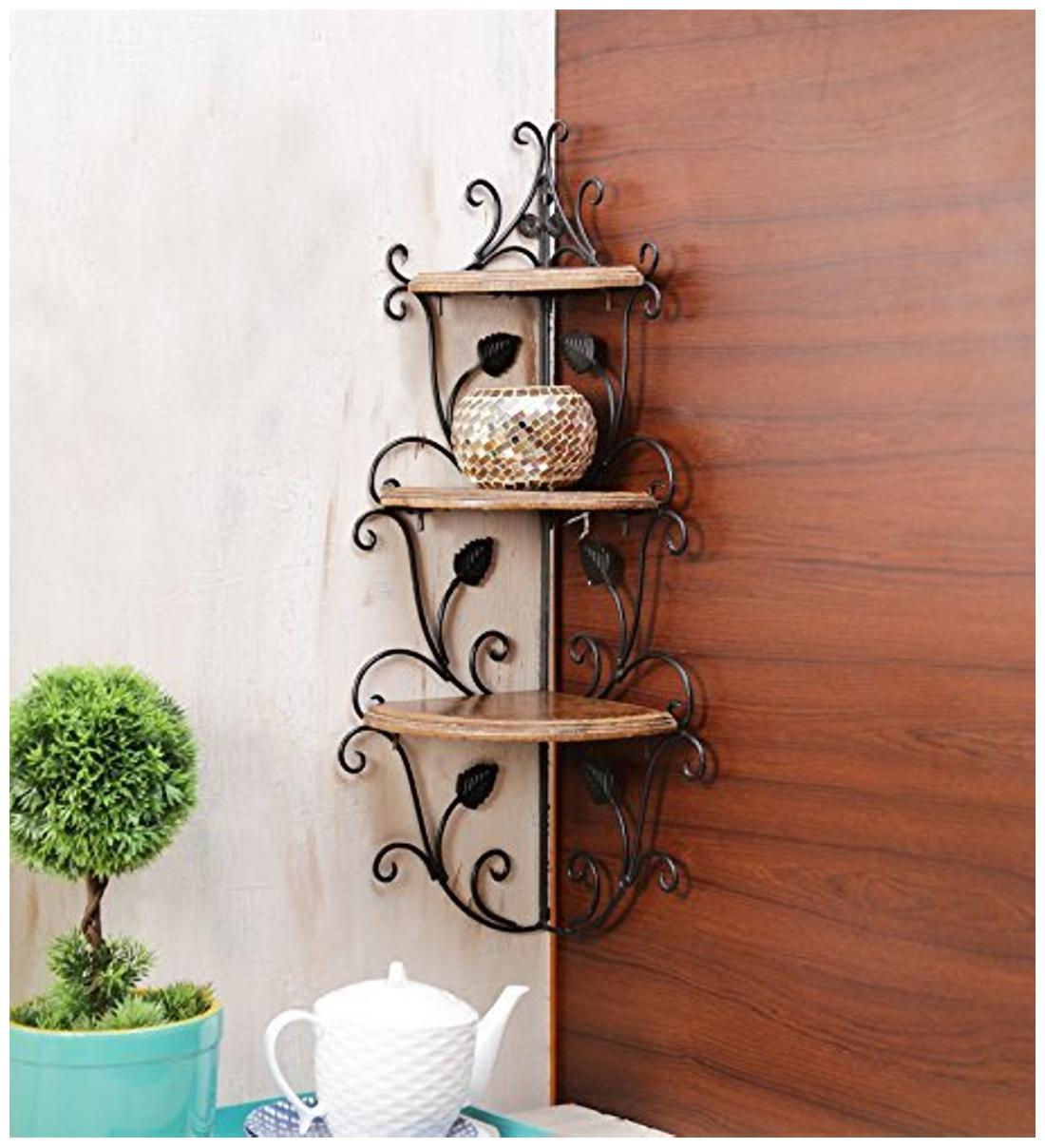 Worthy Shoppee Wall Mounted Wooden Corner Rack Home Decor Carved Furniture Shelves...