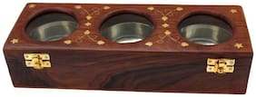 Worthy Shoppee Handmade Item Wooden Dry Fruit Box with Glass;3 Bow
