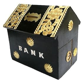 Worthy Shoppee Wooden Coins Storage Box;Money Bank with Carving work and Lock. piggy bank for kids;Gift for Christmas or Birthday