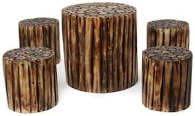 Worthy Shoppee Wooden Circle Shaped Living Room Coffee Table & Stool (Set Of 5)