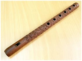 Worthy Shoppee Flute Carving Wooden Player Bansuri Lord Krishna