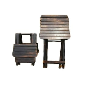 Worthy Shoppee Antique Child'S Wooden Folding Study Table with Chair Coffee Table for Kids