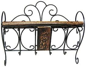Worthy Shoppee Wooden & Wrought Iron Wall Bracket | Book Rack | Cloth Hanger Set of 2