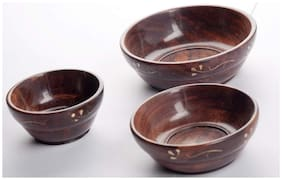 Worthy Shoppee Wooden Serving Bowl - Set of 3 (Brown)