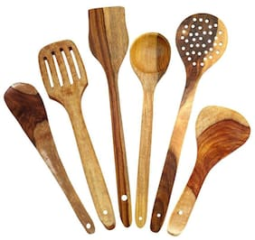 Worthy Shoppee Handmade Wooden Serving Spoons Set of 6