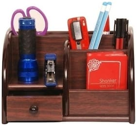 Worthy Shoppee Polished Multi-Functional Wooden Pen Stand With Drawer