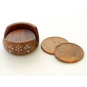 Worthy Shoppee Handicrafted Wooden Coaster Set ( Brown;10.16 cm (4 Inch) )