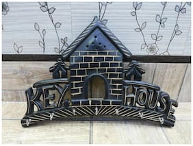Worthy Shoppee Beautiful Home shaped wooden wall key hanger panel