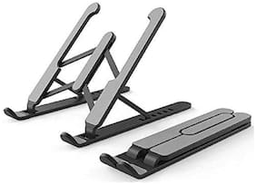WOW SHOP Foldable Laptop Stand with 6 Level Adjustable Height & Durable Plastic Material for Laptops (1Pc)- Assorted Color