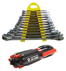 Wrench set with 8 in 1 Tool Kit combo Combination Screwdriver Set