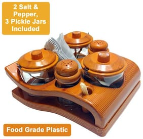 WUDKRAFT Plastic Dinner Sets - Set of 12 , Brown