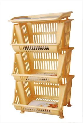 wud kraft multipurpose 3 tier storage rack with upper trey