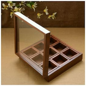 Xclusive Plus 100% Original Wooden Glass Spices Storage Container - 9 Partitions