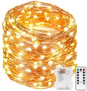 Xergy 10M 100Led Battery Box And Remote And 8 Mode Functions Copper Wire Led Fairy Strip Lights For Valentine'S Decoration