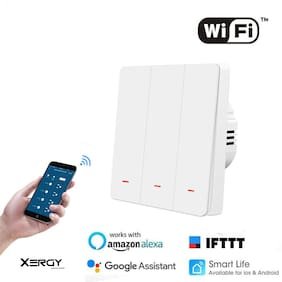 Xergy 3 Gang Smart WIFI Light Switch Work with Alexa Google Assistant and IFTTT for Home Automation with Mechanical Touch