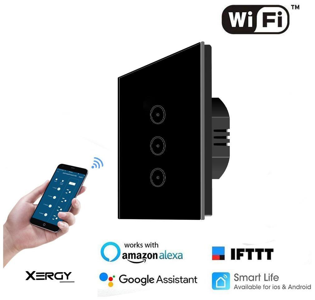 Xergy 3 Gang Smart WIFI Light Switch Work with Alexa Google Assistant...
