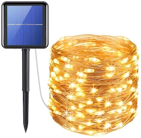 XERGY Upgraded Solar Powered String Lights;33 ft -100 LED Copper Wire Lights;Fairy Lights;Indoor Outdoor Waterproof Solar Decoration Lights for Gardens;Home;Dancing;Party;Christmas (Warm White)