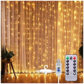 XERGY Window Curtain String Light 300 LED 8 Lighting Modes Fairy Lights Remote Control USB Powered Waterproof Lights for Diwali Valentines Bedroom Party Wedding Home Wall Decorations (Warm White)