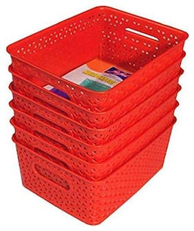 Xllent  Plastic Storage Basket Set of 6, Red Color, (Size in cm-26 + 20+ 11)