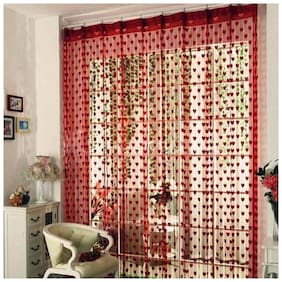 Xy Decor  213 cm (7 ft) Polyester Door Curtain (Pack Of 2)  (Striped, Red)