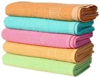 XY DECOR 300 GSM Cotton Hand Towel ( 5 Pieces , Multi )