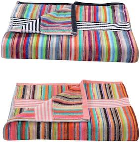 xy decor Cotton King Size Striped 2 pcs Bath Towel Size-30x60 Inches