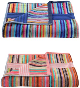 xy decor Cotton King Size Striped 2 pcs Bath Towel Size-30x60 Inches