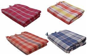 Xy Decor Pack of 4 Check Design Cotton Bath Towel (60X120 Cm) 24X48 inch
