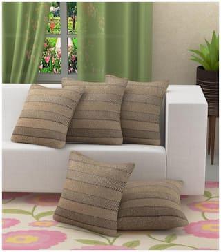 XY DECOR Plain Jute Brown Cushion Cover ( Regular , Pack of 5 )
