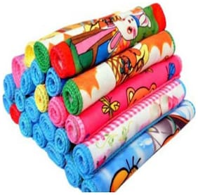 Xy Decor Set of 24 Face towel (Printed, Multicolour) 25x25 Cm