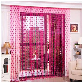 Xy Decor Xy Decor  213 cm (7 ft) Polyester Door Curtain (Pack Of 2)  (Striped, Dark pink)
