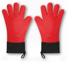 Y-LIFE Oven Mitts - Silicone and Cotton Double-layer Heat Resistant Gloves 2pcs