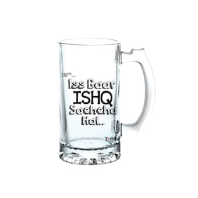 Yedaz Ishq Sachcha Hai Matte Finish Glass Beer Mug
