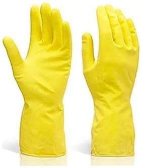 Yellow Rubber Latex Kitchen & Household Cleaning Gloves