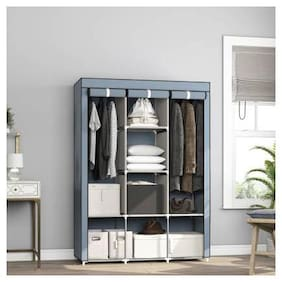 Yiwu Store Perfect Homes Studio 8 Shelf 3 Door PP Collapsible Wardrobe (Finish Color - Grey)