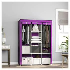 Yiwu Store Perfect Homes Studio 8 Shelf 3 Door PP Collapsible Wardrobe (Finish Color - Dark Purple)
