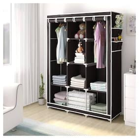 Yiwu Store Perfect Homes Studio 3 Door 8 Shelf PP Collapsible Wardrobe (Finish Color - Chocolate Brown)