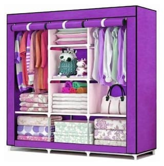 Yiwu Store Perfect Homes Studio 8 Shelf 3 Door PP Collapsible Wardrobe (Finish Color - Purple)