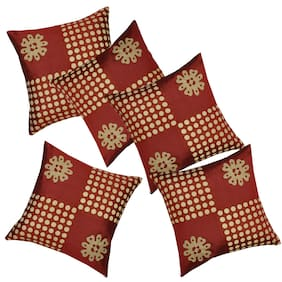 Yooo Shopi Floral Silk Square Shape Red Cushion Cover ( Regular , Pack of 5 )