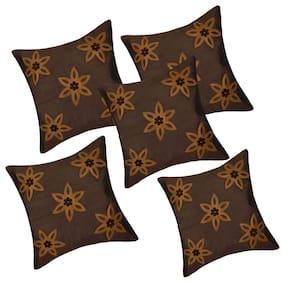 Yooo Shopi Floral Silk Square Shape Brown Cushion Cover ( Regular , Pack of 5 )