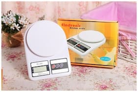 YORA Easelife Weighing Machine for Kitchen with LED Light, Digital Electronic Weight Scale 10 kg SF400 Home Gym (White)