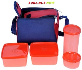 YORA 4 Containers Plastic Lunch Box - Assorted