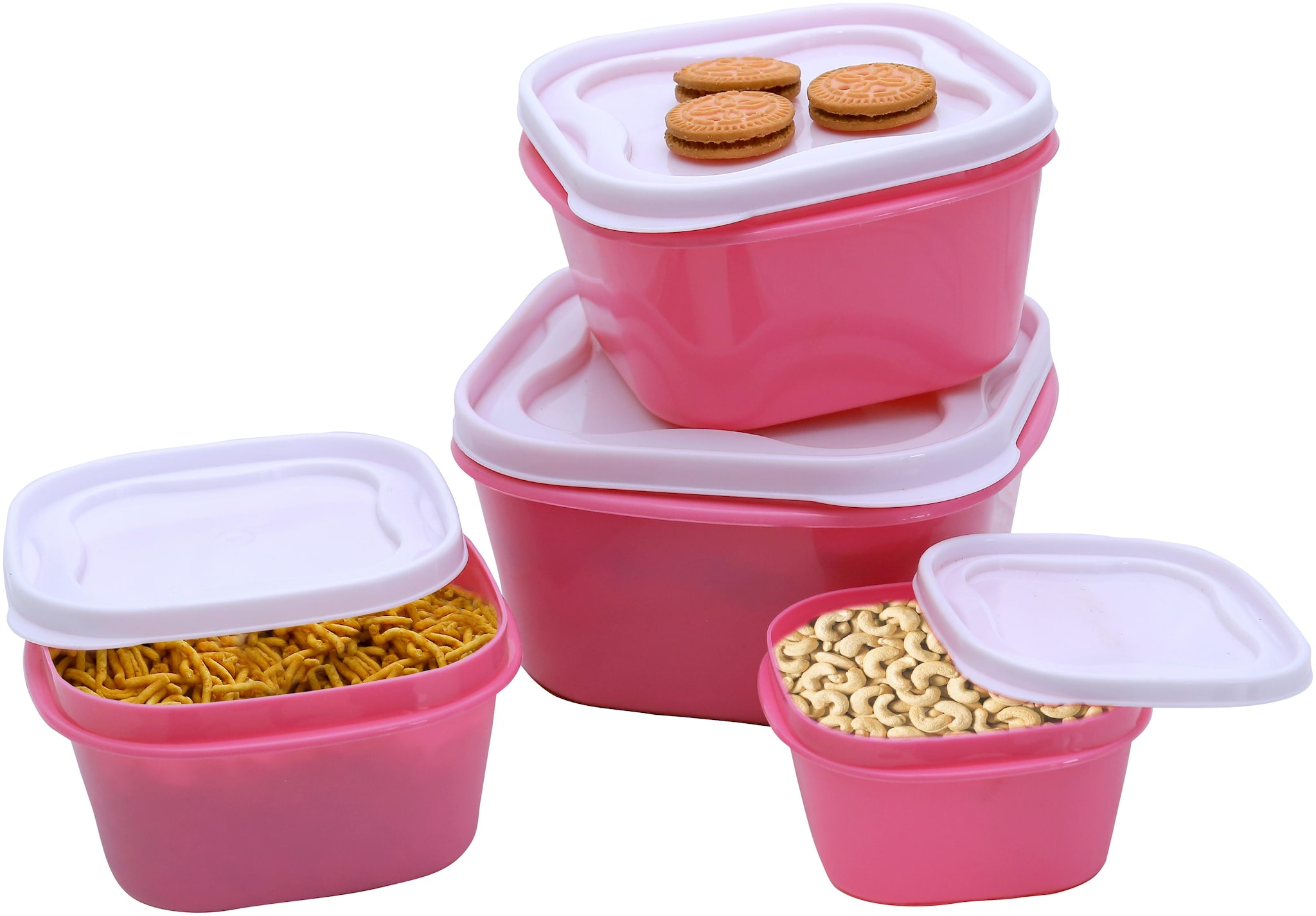 Your Choice 5000 ml Pink Plastic Container Set   Set of 4