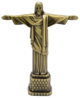 Zahab Christ The Redeemer Bronze Finish Metal Statue Jesus Showpiece for Home Decor | Showpiece for Gift | Showpiece for Living Room