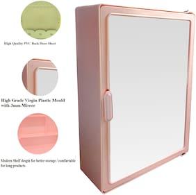 Zahab Pink Plastic Single Door Bathroom Cabinet- 12x16