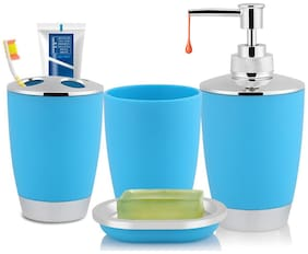 Zahab Plastic 4pcs Chrome Bathroom Accessory Set for Vanity Countertop, Including Liquid Soap Dispenser, Soap Dish, Toothbrush Holder and Tumbler- Blue