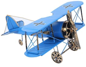 Zahab Vintage Airplane Model Metal Handicraft Wrought Iron Aircraft Biplane Pendant Toys Collectible Iron Art Sculpture Home Desk Workplace Office Decoration (Blue) 10 x 5 x 12 inch